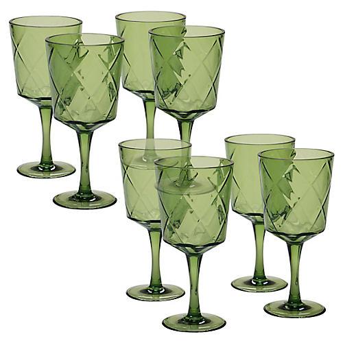 S/8 Drazen Acrylic Goblet Set, Green