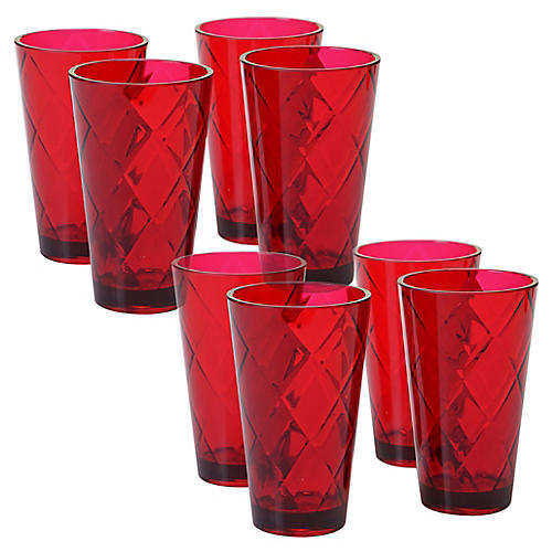 S/8 Drazen Acrylic Glass Set, Ruby
