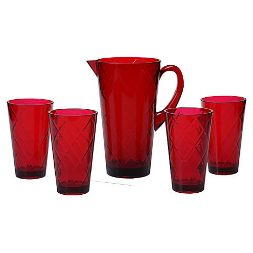 Asst. of 5 Drazen Acrylic Drinkware Set, Ruby
