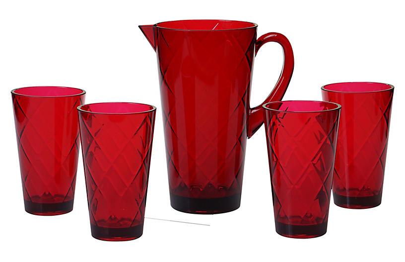 Asst. of 5 Drazen Acrylic Drinkware Set, Ruby
