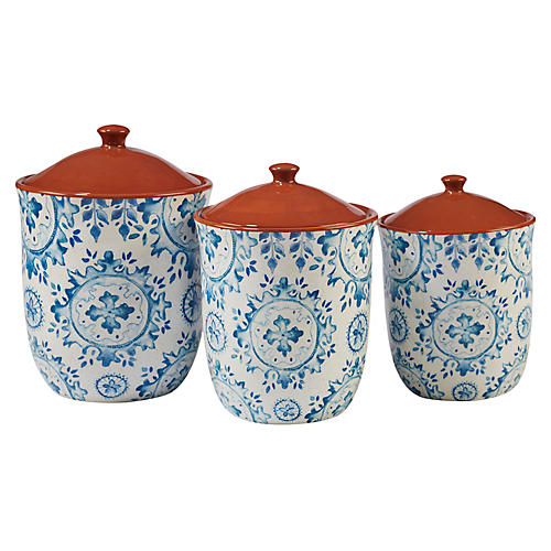 S/3 Positano Canister Set, Blue/White