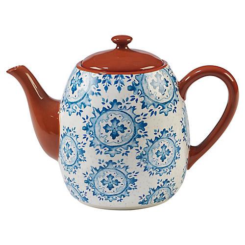 Positano Teapot, Blue/White