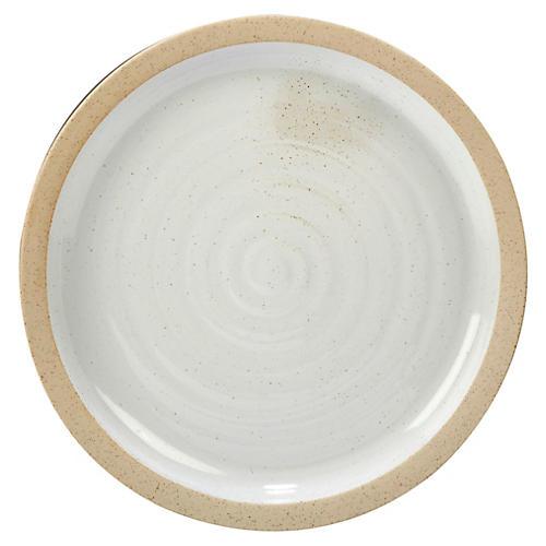 Berkin Round Platter, White/Tan