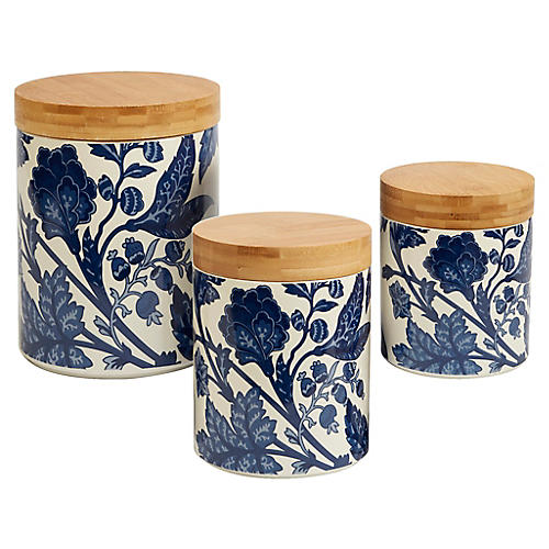 S/3 Mara Canister Set, Blue