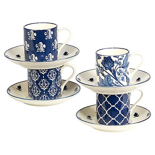 S/4 Mara Espresso Set, Blue