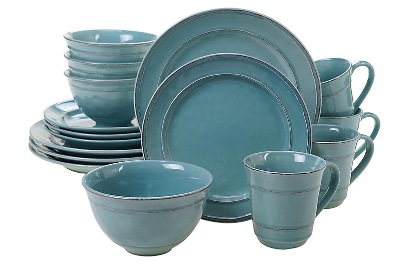 Asst. of 16 Misha Place Setting, Teal