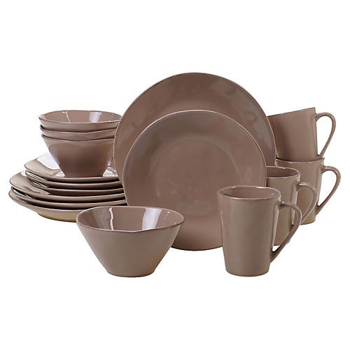 Asst. of 16 Salerno Place Setting, Taupe