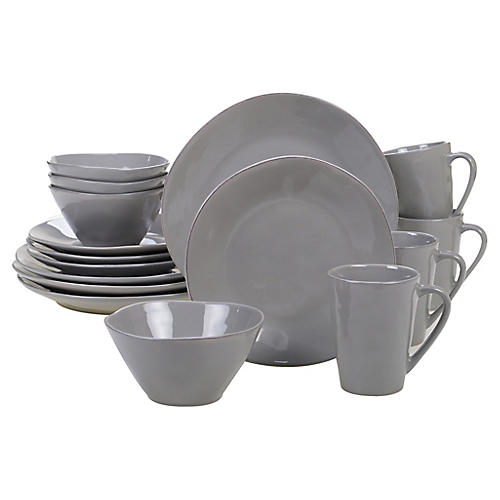 Asst. of 16 Salerno Place Setting, Light Gray