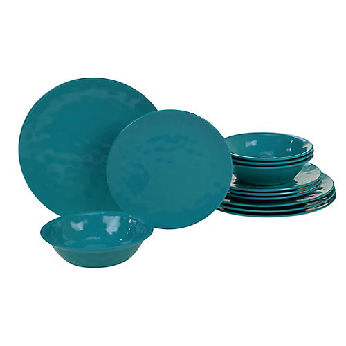Asst. of 12 Wayne Melamine Place Setting, Teal