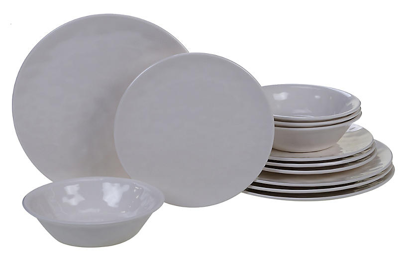 Asst. of 12 Wayne Melamine Place Setting, Cream