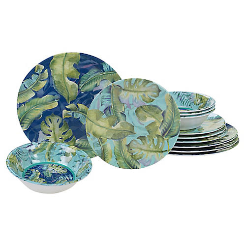Asst. of 12 Almeida Melamine Place Setting, Blue