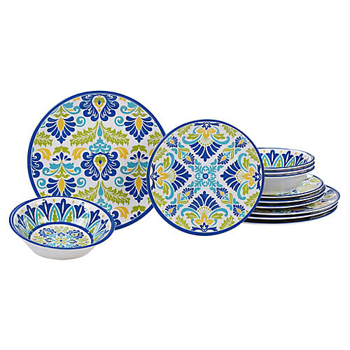 Asst. of 12 Palmer Melamine Place Setting, Blue