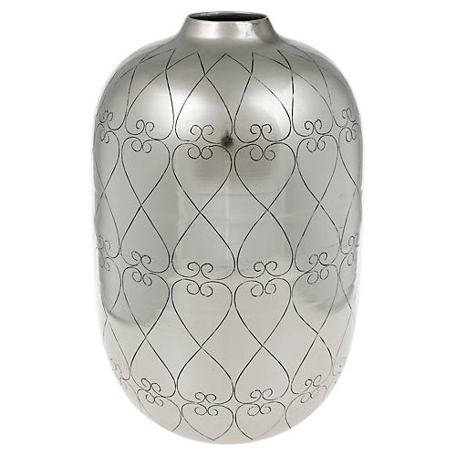 "13"" Lowe Tall Vase, Silver"