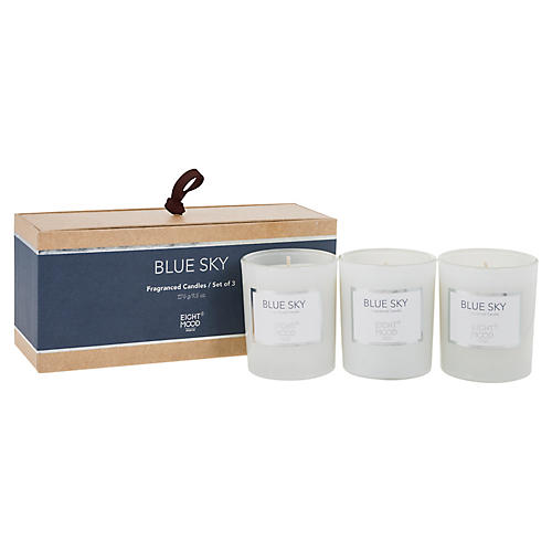 S/3 Pure Candles, Blue Sky