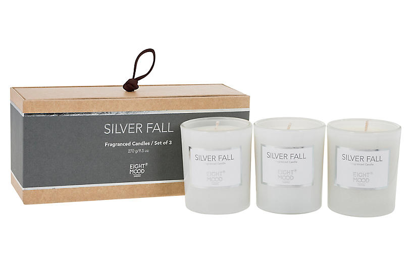 S/3 Pure Candles, Silver Fall