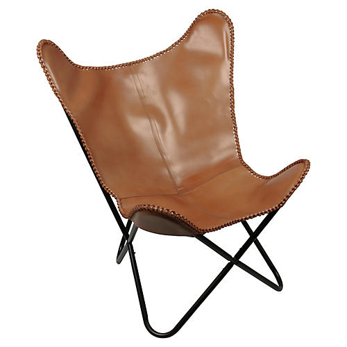 Amorica Butterfly Chair, Tan Leather
