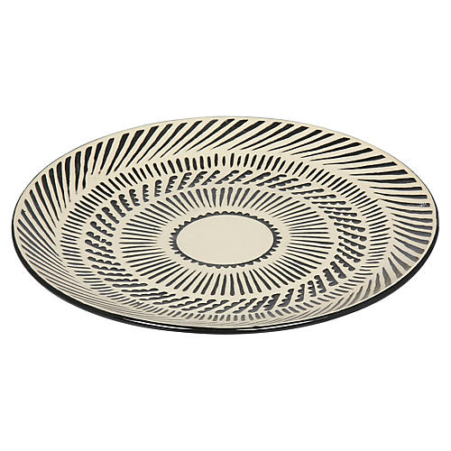 "15"" Emir Decorative Plate, Beige/Black"