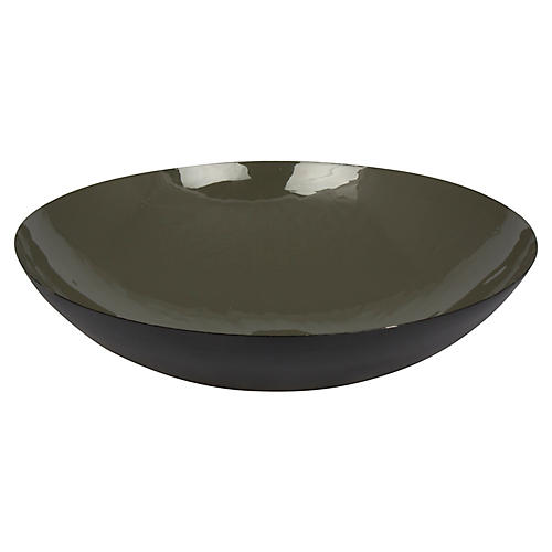 "17"" Cuevas Decorative Bowl, Forest Green/Black"