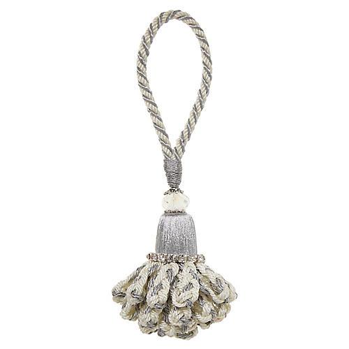 S/4 Marbella Napkin Rings, White/Silver