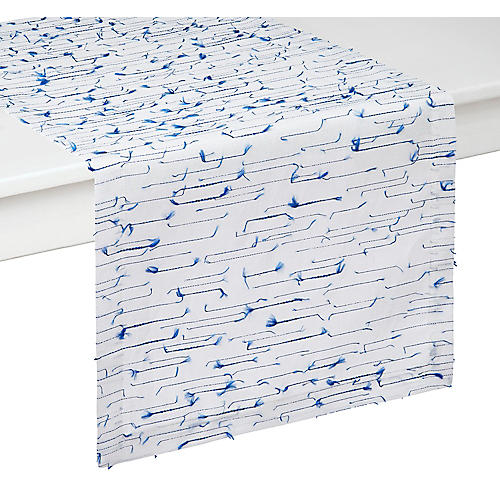Amalfi Table Runner, Blue/White