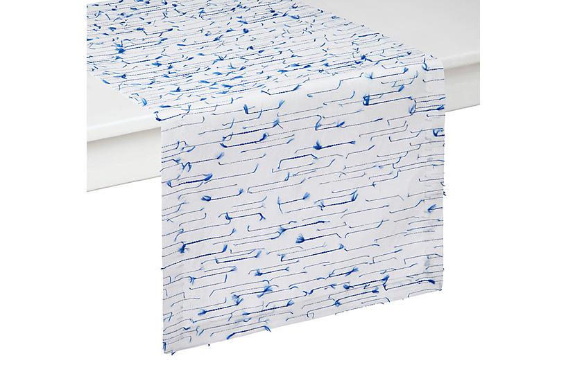Amalfi Table Runner, Blue/White