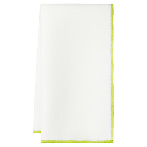 S/4 Bel Air Dinner Napkins, White/Lime