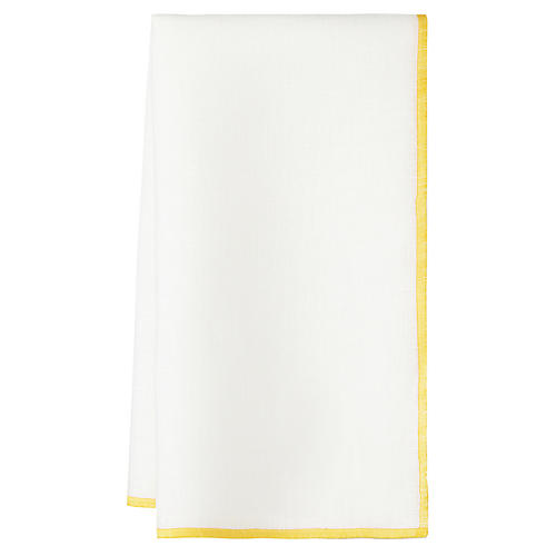 S/4 Bel Air Dinner Napkins, White/Yellow