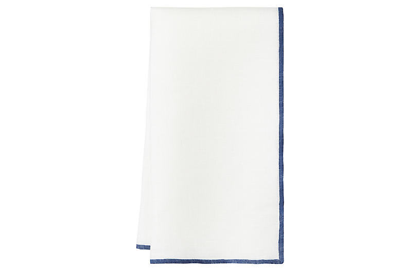 S/4 Bel Air Dinner Napkins, White/Sea Blue