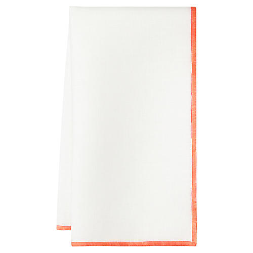 S/4 Bel Air Dinner Napkins, White/Orange