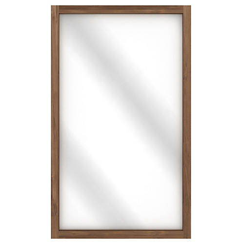 Teak Light Frame Floor Mirror, Brown