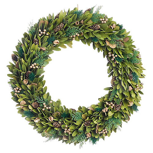 "22"" Boxwood & Golden Berry Wreath, Faux"