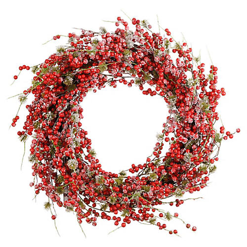 "24"" Frosted Berry Wreath, Faux"