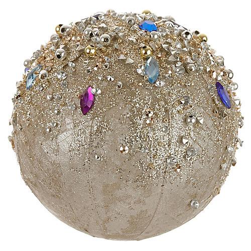 Gem Ball Ornament, Champagne/Multi