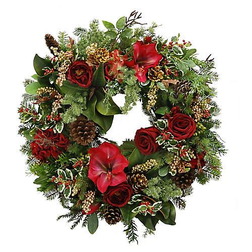 "24"" Holiday Medley Wreath, Faux"