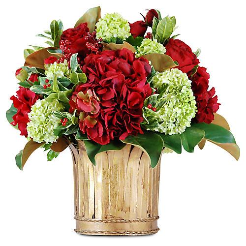 """17"""" Rose & Hydrangea Arrangement w/ Vase, Faux"""