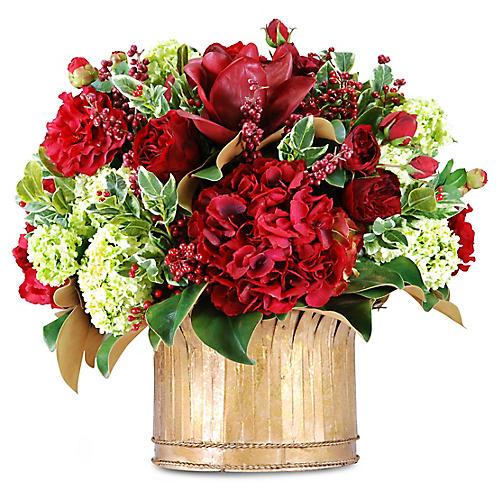 """24"""" Rose & Holly Arrangement w/ Vase, Faux"""