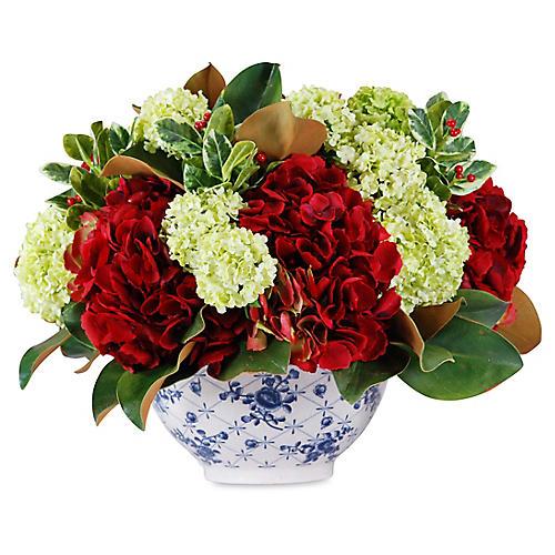 """18"""" Hydrangea & Magnolia Arrangement w/ Bowl, Faux"""