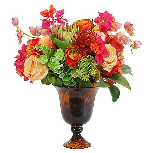 """21"""" Tropical Rose Arrangement, Faux"""