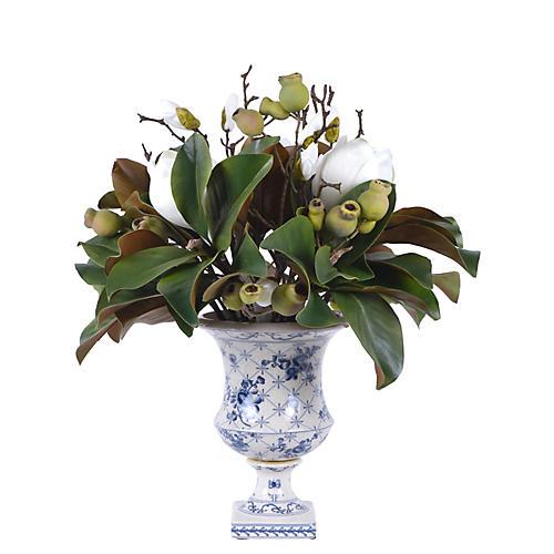 "20"" Blooming Magnolia w/ Vessel, Faux"