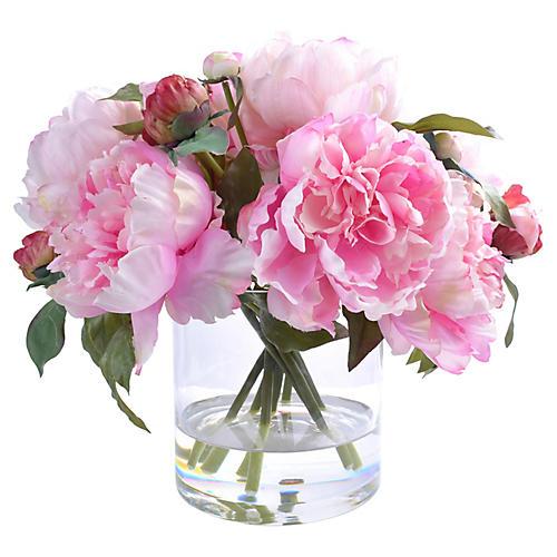 "13"" Everlasting Peony w/ Vase, Faux"