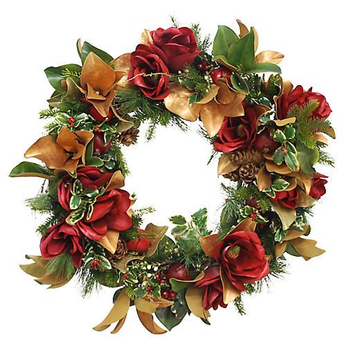 "30"" Red Blossom Magnolia Wreath, Faux"