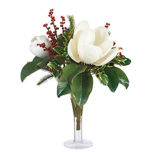 """21"""" Magnolia & Berry Mix w/ Trumpet Vase, Faux"""