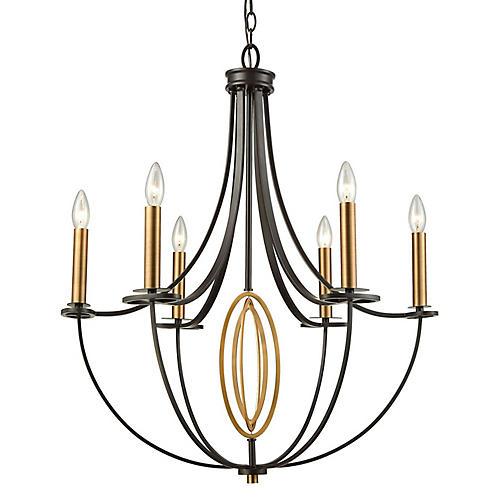 Rami 6-Light Chandelier, Bronze/Brass
