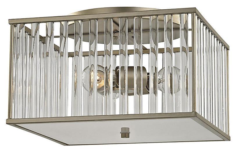 Varley 3-Light Semi-Flush Mount, Aged Silver