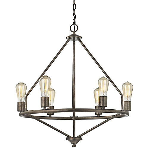 Quavo 6-Light Chandelier, Windswept Silver