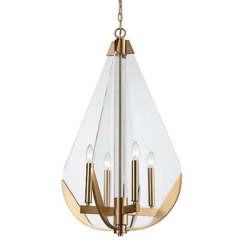 Lindley 4-Light Chandelier, Aged Brass/Clear