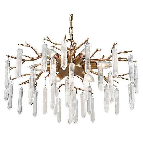 Padilla Crystal Chandelier, Coffee Bronze/Clear