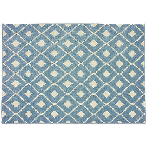 Camino Outdoor Rug, Blue/Ivory