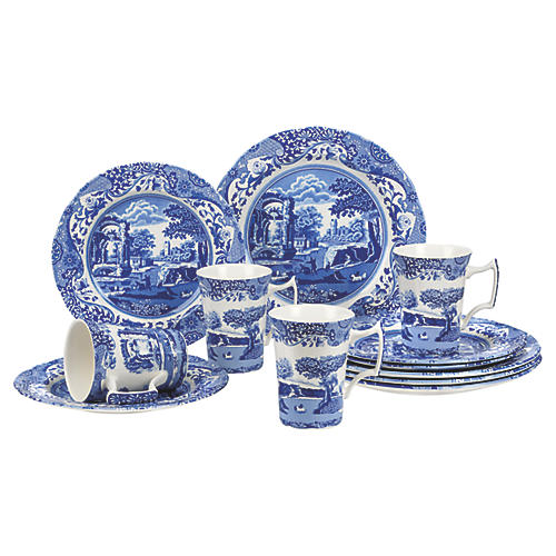 12-Pc Italian Place Setting, Blue/White