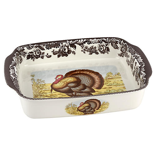 Turkey Dish Lasagne Dish, White/Brown